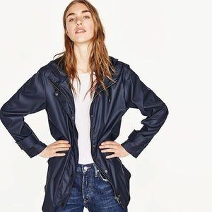 Zara Hooded Raincoat Navy